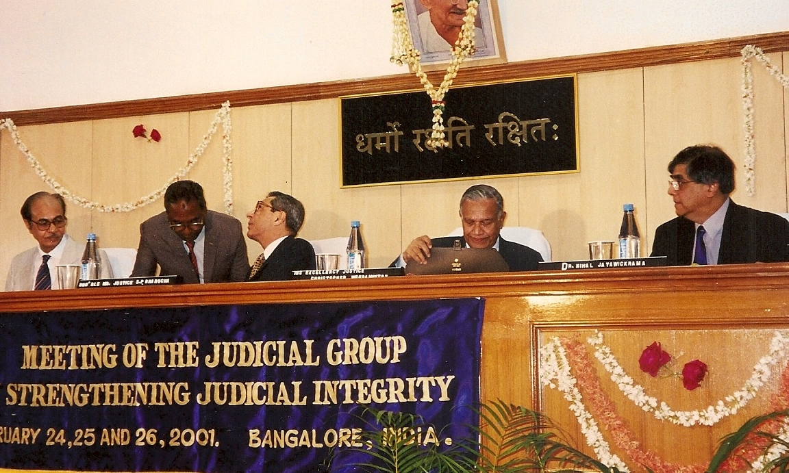 from left: Chief Justice Reddi of Karnataka State; Justice Barucha of the Supreme Court of India; Judge Weeramantry, Dr Nihal Jayawickrama