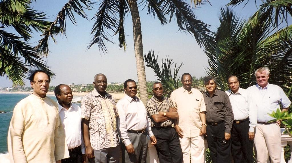 From left: Chief Justice Hasan, L.M.K.Uzia (Legal Secretary to the Chief Justice of Tanzania), Chief Justice Samatta, Chief Justice Odoki, Chief Justice Langa, Chief Justice Uwais, Dr Nihal Jayawickrama, Chief Justice Jain and Dr Petter Langseth