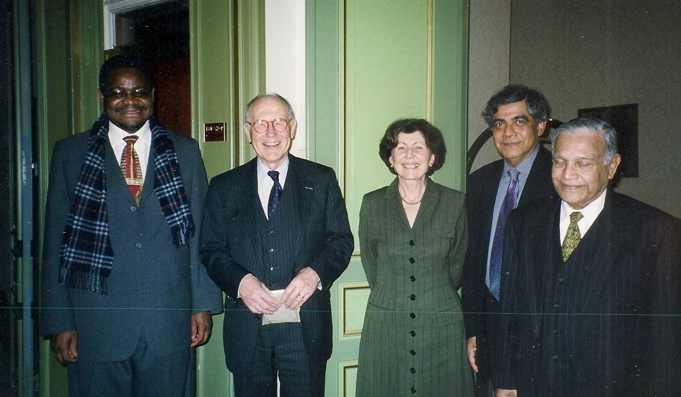 from left: Chief Justice Mangaze, Chief Justice Pim Haak, Ms Eveline Hartogs, Registrar of the Hoge Raad der Nederlanden, Dr Nihal Jayawickrama and Judge Weeramantry
