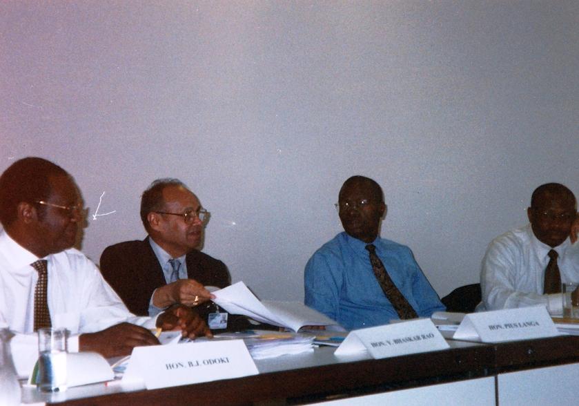 From left: Justice Odoki, Chief Justice Bhaskar Rao, Justice Langa