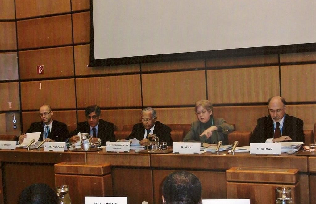 From Left: Dr Oliver Stolpe (UNODC), Dr Nihal Jayawickrama, Judge Weeramantry, Ms Sumru Noyan (UNODC), and Dr Stuart Gilman (UNODC)
