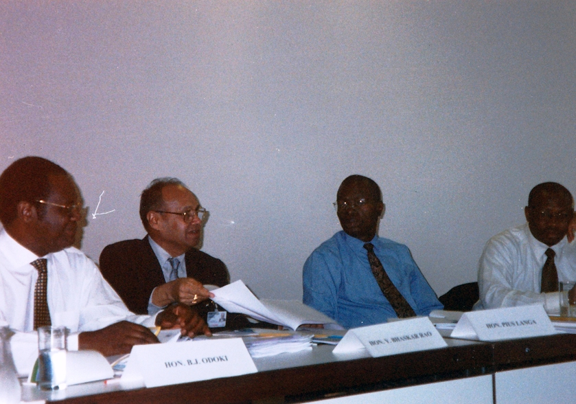 From left: Justice Odoki, Chief Justice Bhaskar Rao, Justice Langa