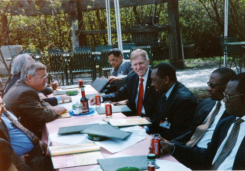 From right: Justice B.J.Odoki, Bulelani Ngcuka (Director of Public Prosecutions of South Africa), Chief Justice M.L.Uwais, Justice Michael Kirby, Dr Giuseppe di Gennaro