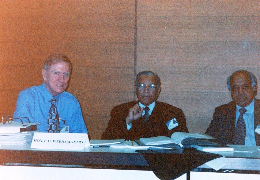 From left: Justice Kirby, Judge Weeramantry and Dato Param Cumaraswa