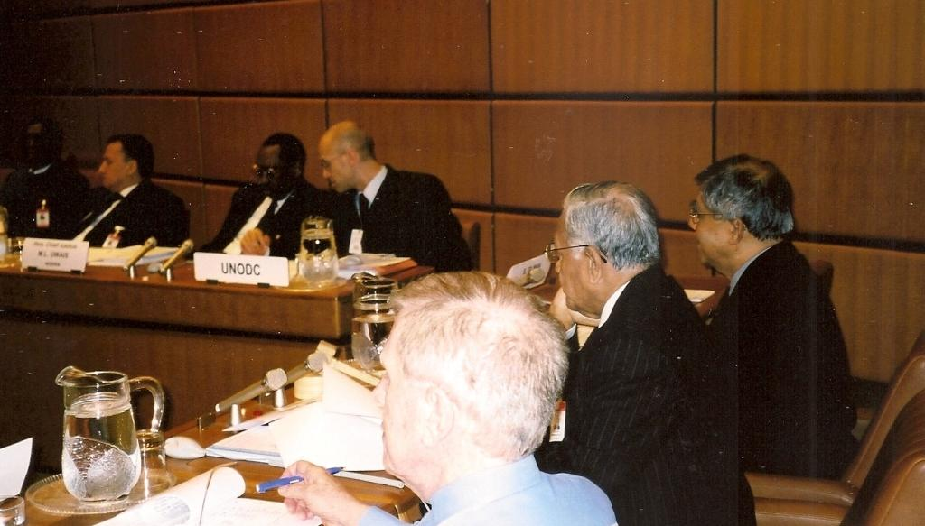 From left: Deputy Chief Justice Sherif, Chief Justice Uwais, and Dr Oliver Stolpe (UNODC)