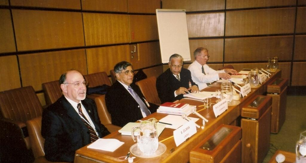 From left: Dr Stuart Gilman (UNODC); Dr Nihal Jayawickrama; Judge Weeramantry; and Justice Michael Kirby