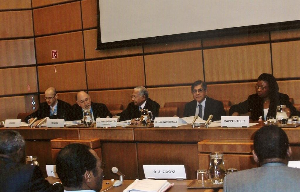 From left: Dr Oliver Stolpe (UNODC), Dr Stuart Gilman (UNODC), Judge Weeramantry (Chair of Day One), Dr Nihal Jayawickrama, and the Rapporteur of the OIEGM